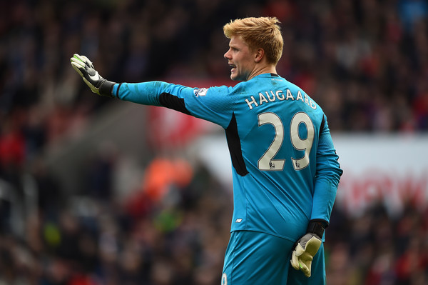 Young Danish goalkeeper Haugaard has conceded six goals in two games. | Photo: Getty Images