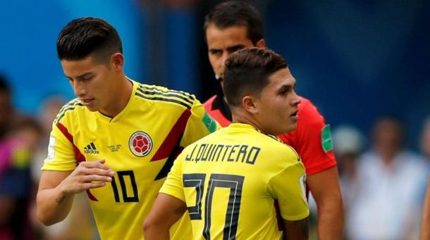 James y Quintero únicamente no jugaron juntos ante Japón. Foto: zonacero.com