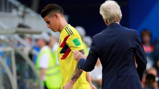 James, sustituido ante Senegal por molestias físicas. Foto. zonacero.com