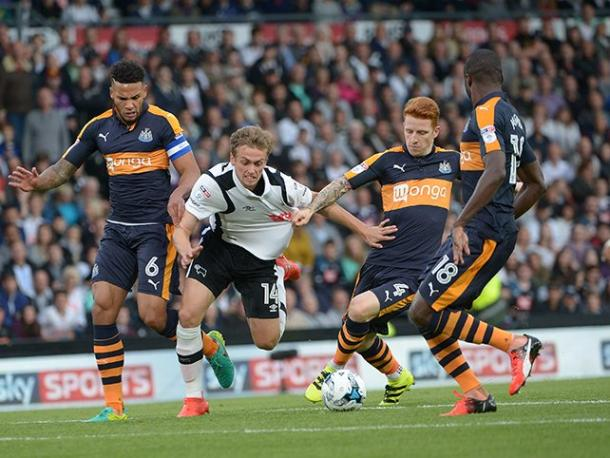 Wilson in action against Newcastle | Photo: Derby County FC