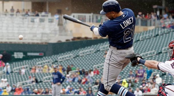 James Loney takes on the Baltimore Orioles. (Jim Mone/AP)