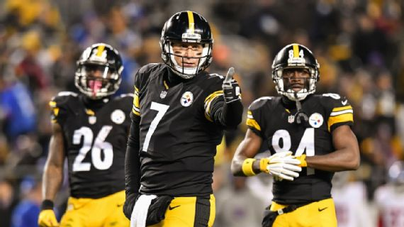 Roethlisberger (7), Bell (26), and Brown (84) are the keys to tomorrow's AFC Championship Game for Pittsburgh (Jamie Sabau/Getty Images)