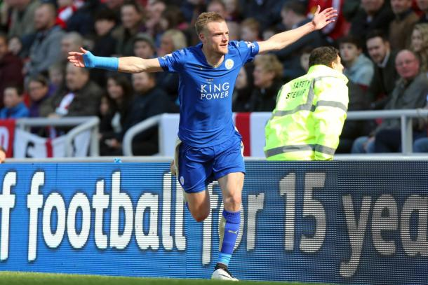 Vardy celebrating - an all too familiar sight this season | Photo: Getty