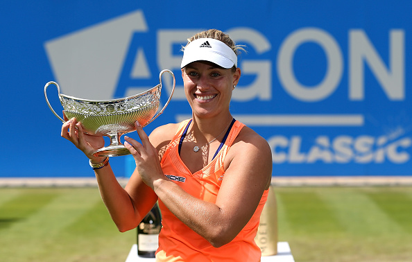Kerber with the title last year (Getty/Jan Kruger)
