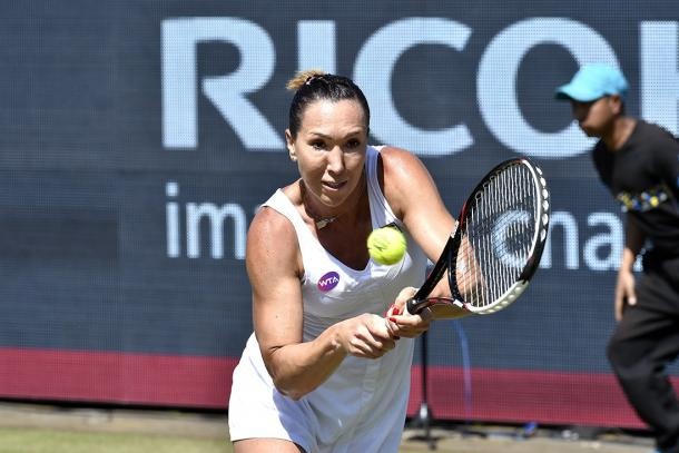 Jelena Jankovic hits a backhand during her loss. Photo: Ricoh Open