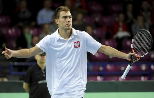 Jerzy Janowicz frustrated during the Davis Cup. Photo: PAP