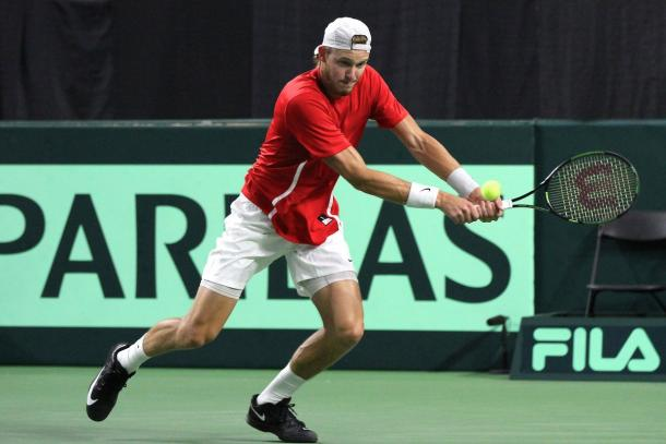Nicolas Jarry could only hold of Pospisil for so long in the second rubber. Photo: Davis Cup