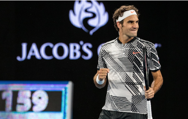 Federer fist-pumps to his box with glee after claiming victory over Berdych. Credit: Jason Heidrich/Icon Sportswire via Getty Images