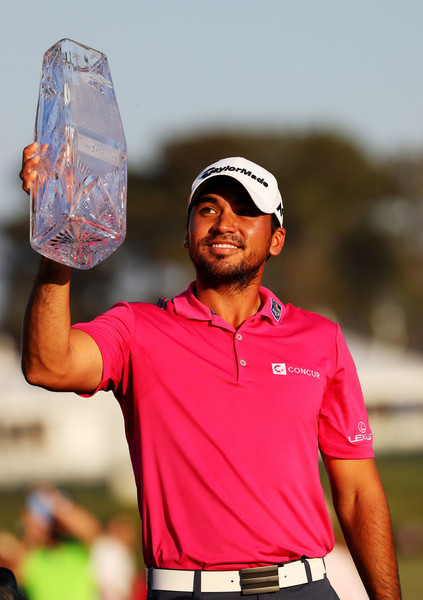 Jason Day lifts the trophy in Ponte Vedra Beach. Photo: Sam Greenwood/Getty Images