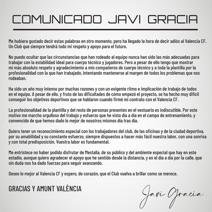 Comunicado de Javi Gracia
