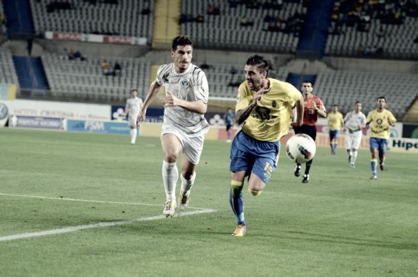 Javier Portillo en un partido frente al Alcorcón | Fuente: Udlaspalmas.net