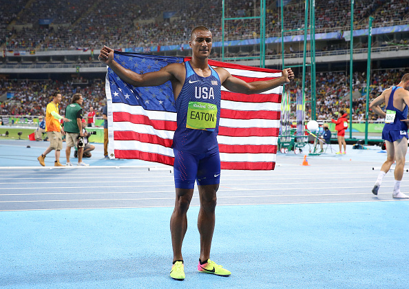 Ashton Eaton celebrates after his Rio 2016 gold medal (Getty/Jean Catuffe)