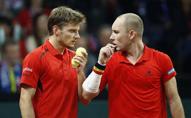 David Goffin and Steve Darcis in action during the 2015 Davis Cup final versus Great Britain (Getty/Jean Catuffe)