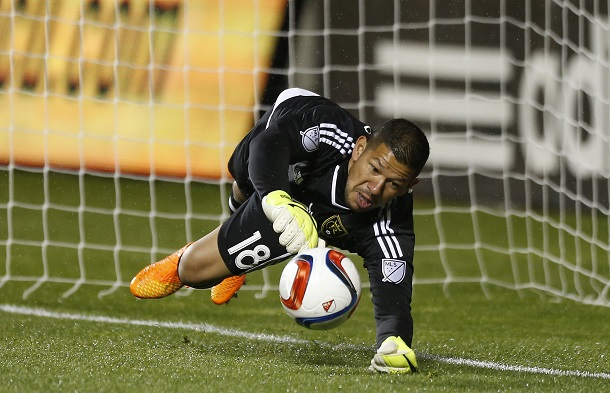 Real Salt Lake goalkeeper Nick Rimando makes a diving save. | Photo: Jeff Swinger, USA TODAY Sports