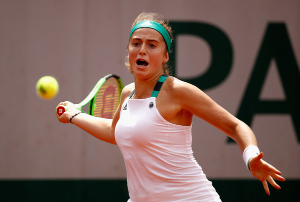 Jelena Ostapenko hits a forehand at the French Open | Photo: Adam Pretty/Getty Images Europe