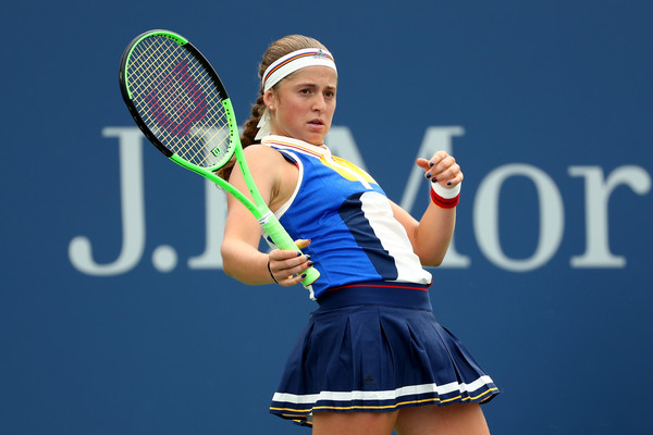 Just not her day: Jelena Ostapenko reacts after losing a point during her third-round match against Daria Kasatkina at the 2017 U.S. Open. | Photo: Al Bello/Getty Images