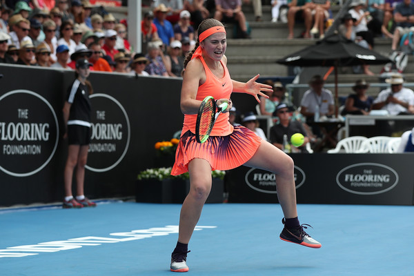 Jelena Ostapenko in action during her first tournament of the year, reaching the semifinals of the ASB Classic | Photo: Fiona Goodall/Getty Images AsiaPac