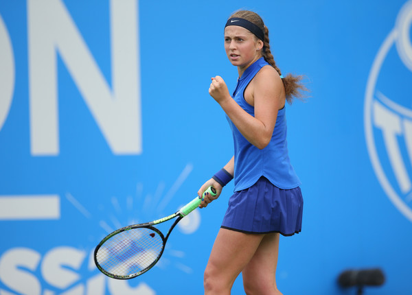 Jelena Ostapenko at the Aegon Classic in Eastbourne. Photo: Steve Bardens/Getty Images