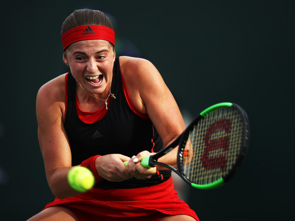 Jelena Ostapenko looked flawless at all the crucial moments of the first set | Photo: Adam Pretty/Getty Images North America