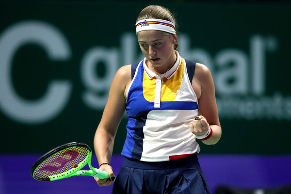 Ostapenko celebrates winning a point | Photo: Matthew Stockman/Getty Images AsiaPac