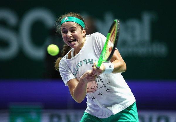 Jelena Ostapenko practises inside the Singapore Indoor Stadium | Photo: Clive Brunskill/Getty Images AsiaPac