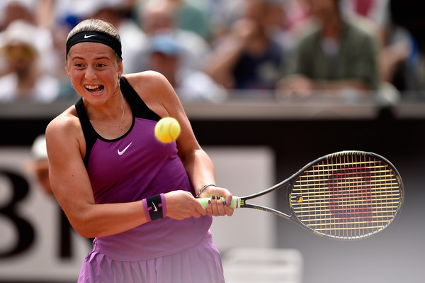 Jelena Ostapenko in action in Rome. Photo: Dennis Grombkowski/Getty Images