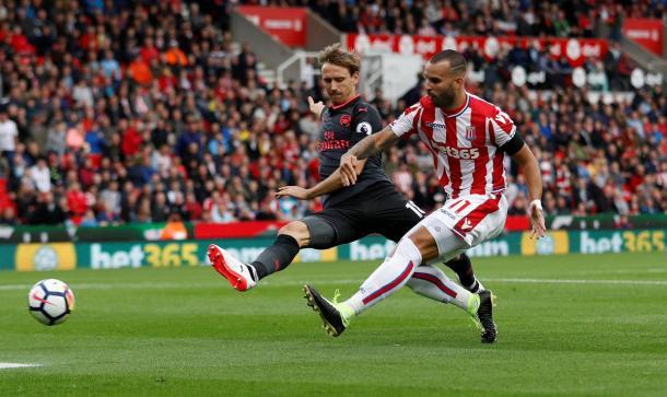 Jesé en el momento de anotar el gol   Fotografía: Premier League