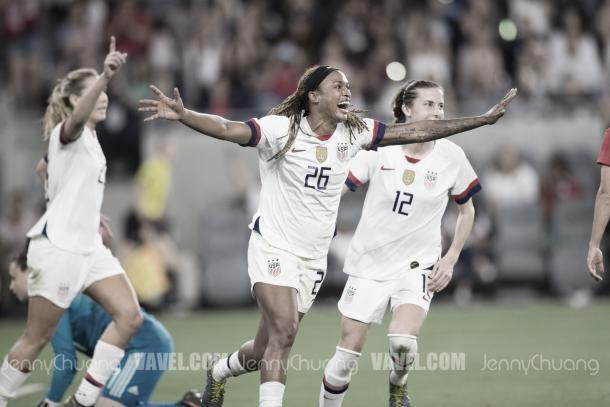 Jessica McDonald celebrating her goal. (Vavel.com/JennyChuang)
