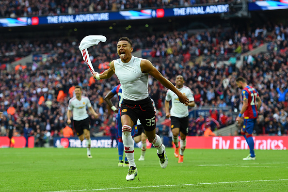 Lingard celebrates his Cup-winning strike | Photo: Shaun Botterill/Getty Images