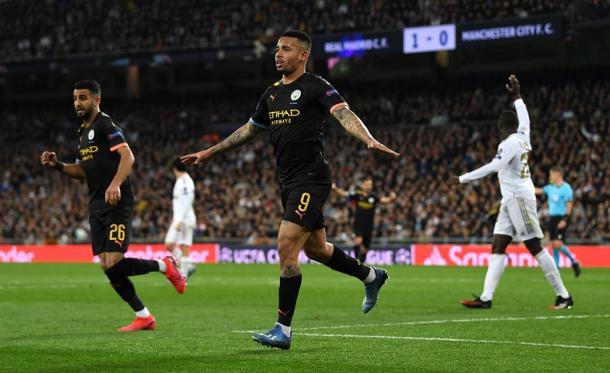 Gabriel Jesús celebrates his goal of the tie / Photo: UEFA