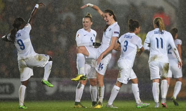 Jill Scott celebrates with teammates after giving England their latest win in qualifying over Bosnia. (Photo: The Guardian)