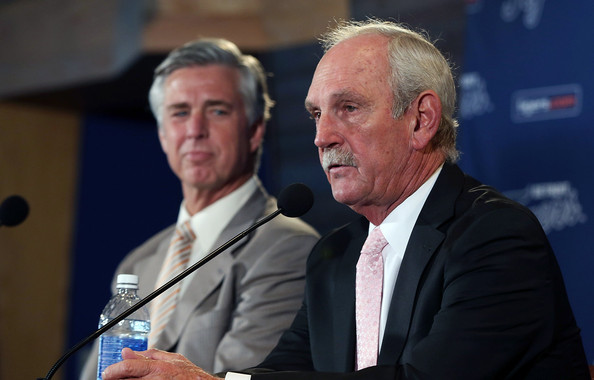 Detroit Tigers President CEO General Manager David Dombrowski (L) and Jim Leyland speak during a press conference to announce Leyland's retirement as manager of the Detroit Tigers at Comerica Park on October 21, 2013 in Detroit, Michigan. (Oct. 20, 2013 - Source: Leon Halip/Getty Images North America)