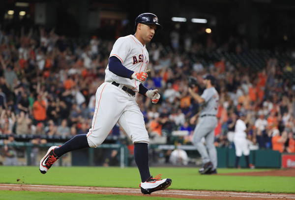 George Springer #4 of the Houston Astros rounds the bases after he hit a two-run home run off Justin Verlander #35 of the Detroit Tigers during the first inning of their game against the Detroit Tigers at Minute Maid Park on April 16, 2016 in Houston, Texas. (April 15, 2016 - Source: Scott Halleran/Getty Images North America)