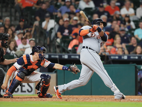 Victor Martinez #41 of the Detroit Tigers hits an RBI double in the ninth inning of their game against the Houston Astros at Minute Maid Park on April 16, 2016 in Houston, Texas. (April 15, 2016 - Source: Scott Halleran/Getty Images North America)