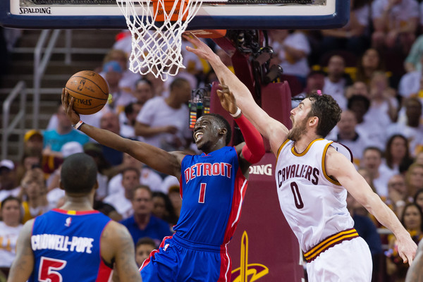 Reggie Jackson #1 of the Detroit Pistons shoots over Kevin Love #0 of the Cleveland Cavaliers during the second quarter of the NBA Eastern Conference Quarterfinals at Quicken Loans Arena on April 17, 2016 in Cleveland, Ohio. The Cavaliers defeated the Pistons 106-101. NOTE TO USER: User expressly acknowledges and agrees that, by downloading and or using this photograph, User is consenting to the terms and conditions of the Getty Images License Agreement. (April 16, 2016 - Source: Jason Miller/Getty Images North America)