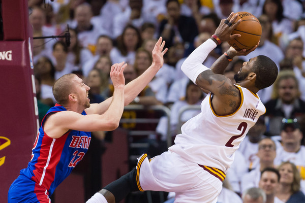 Kyrie Irving #2 of the Cleveland Cavaliers shoots over Steve Blake #22 of the Detroit Pistons during the first half of the NBA Eastern Conference Quarterfinals at Quicken Loans Arena on April 17, 2016 in Cleveland, Ohio. NOTE TO USER: User expressly acknowledges and agrees that, by downloading and or using this photograph, User is consenting to the terms and conditions of the Getty Images License Agreement. (April 16, 2016 - Source: Jason Miller/Getty Images North America)