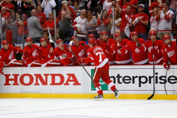 Detroit Red Wings center Andreas Athanasiou (72) celebrates his goal against the Tampa Bay Lightning in the second period of Game 3 in a first-round NHL hockey Stanley Cup playoff series, Sunday, April 17, 2016, in Detroit