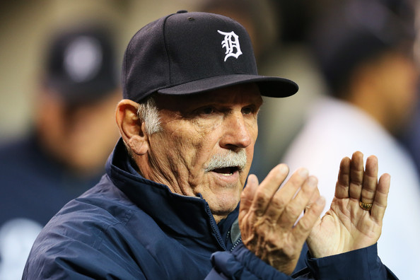 Manager Jim Leyland #10 of the Detroit Tigers reacts during Game Four of the American League Division Series against the Oakland Athletics at Comerica Park on October 8, 2013 in Detroit, Michigan. (Oct. 7, 2013 - Source: Rob Carr/Getty Images North America)