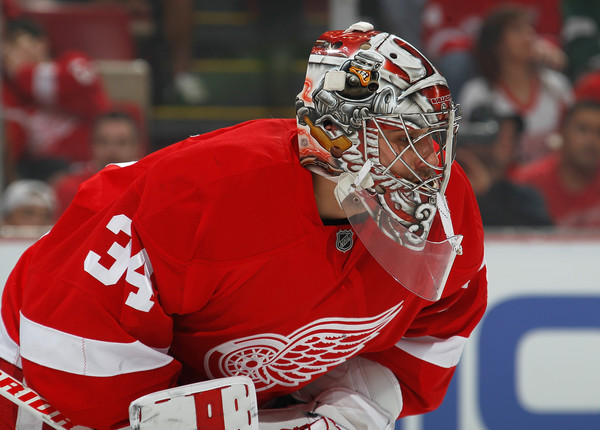 Petr Mrazek #34 of the Detroit Red Wings looks on during a face-off in the first period of Game Three of the Eastern Conference Quarterfinals during the 2016 NHL Stanley Cup Playoffs at Joe Louis Arena on April 17, 2016 in Detroit, Michigan. (April 16, 2016 - Source: Gregory Shamus/Getty Images North America)