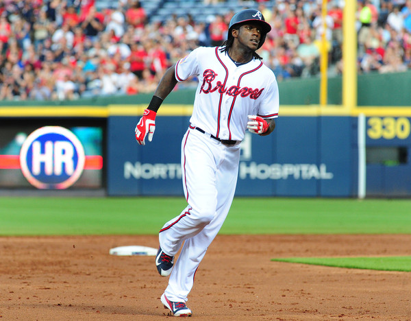 Cameron Maybin #25 of the Atlanta Braves rounds the bases after hitting a second inning solo home run against the Philadelphia Phillies at Turner Field on July 4, 2015 in Atlanta, Georgia. (July 3, 2015 - Source: Scott Cunningham/Getty Images North America)