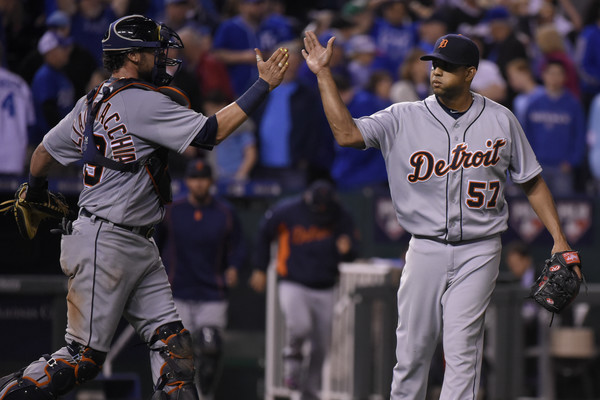 Jarrod Saltalamacchia #39 of the Detroit Tigers and Francisco Rodriguez #57 celebrate a 3-2 win over the Kansas City Royals at Kauffman Stadium on April 20, 2016 in Kansas City, Missouri. (April 20, 2014 - Source: Ed Zurga/Getty Images North America)