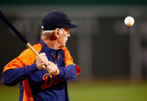 Manager Jim Leyland #10 of the Detroit Tigers hits a ball before Game Two of the American League Championship Series against the Boston Red Sox at Fenway Park on October 13, 2013 in Boston, Massachusetts. (Oct. 12, 2013 - Source: Jared Wickerham/Getty Images North America)