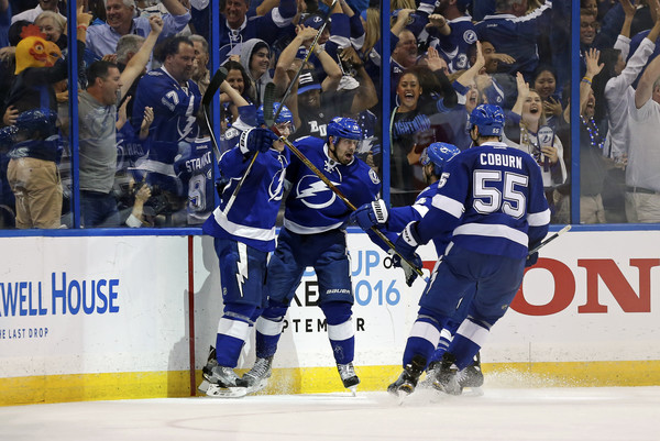 Alex Killorn #17 of the Tampa Bay Lightning celebrates his goal against the Detroit Red Wings with teammates Matt Carle #25 and Braydon Coburn #55 during the third period in Game Five of the Eastern Conference First Round during the 2016 NHL Stanley Cup Playoffs at Amalie Arena on April 21, 2016 in Tampa, Florida. (April 20, 2016 - Source: Mike Carlson/Getty Images North America)