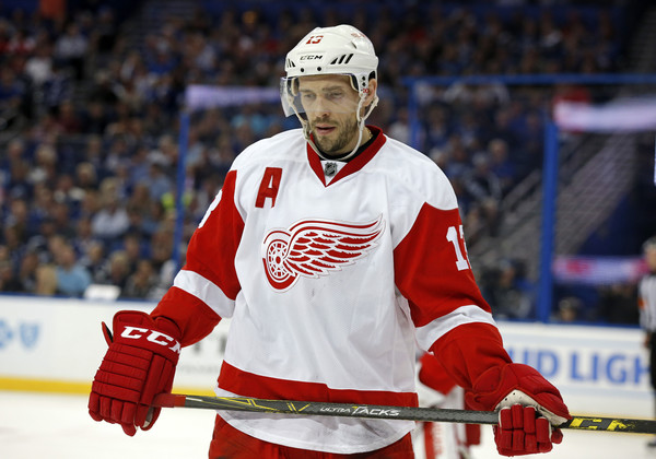 Pavel Datsyuk #13 of the Detroit Red Wings during a stop in play against the Tampa Bay Lightning during the second period in Game Five of the Eastern Conference First Round during the 2016 NHL Stanley Cup Playoffs at Amalie Arena on April 21, 2016 in Tampa, Florida. (April 20, 2016 - Source: Mike Carlson/Getty Images North America)