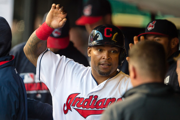 Marlon Byrd #6 of the Cleveland Indians celebrates after scoring during the fourth inning against the Seattle Mariners at Progressive Field on April 19, 2016 in Cleveland, Ohio. (April 18, 2016 - Source: Jason Miller/Getty Images North America)