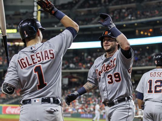 Tigers catcher Jarrod Saltalamacchia (39) celebrates with shortstop Jose Iglesias (1) after hitting a home run during the sixth inning Saturday in Houston. (Photo: Troy Taormina USA TODAY Sports)