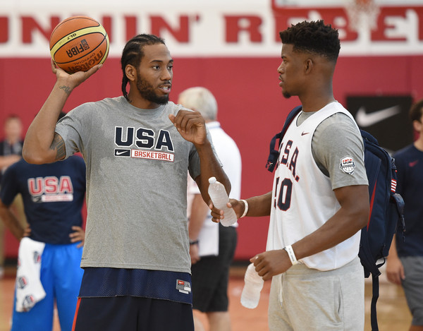 Kawhi Leonard #30 and Jimmy Butler #50 of the 2015 USA Basketball Men's National Team talk during a practice session. |Aug. 10 2015- Source Ethan Miller  Getty Images North America