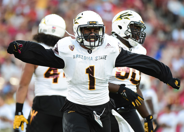 Defensive lineman JoJo Wicker #1 of the Arizona State Sun Devils. |Sept. 30, 2016 - Source: Harry How/Getty Images North America|