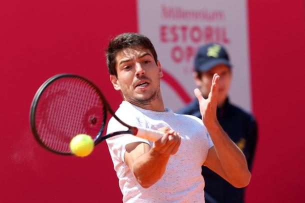 João Domingues playing his qualifying first round at the Millennium Estoril Open. (Photo by Millennium Estoril Open)