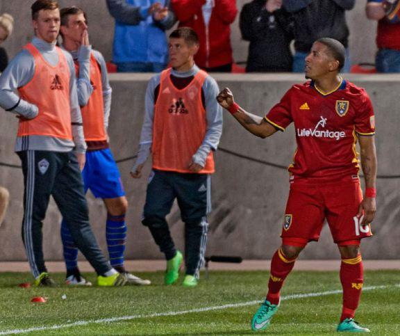 Joao Plata (in red) celebrates after scoring against the Colorado Rapids. Photo credit: Michael Mangum/The Salt Lake Tribune